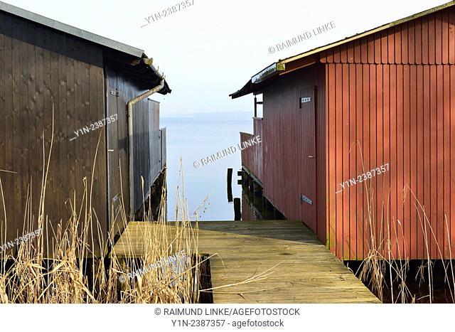 Boathouse on the Lake, Zarrentin am Schaalsee, Western Pomerania, Germany