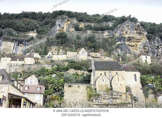La Roque Gageac is one of the most beautiful villages in France. Nestled on the edge of the Dordogne river in Aquitaine France on December 7, 2018