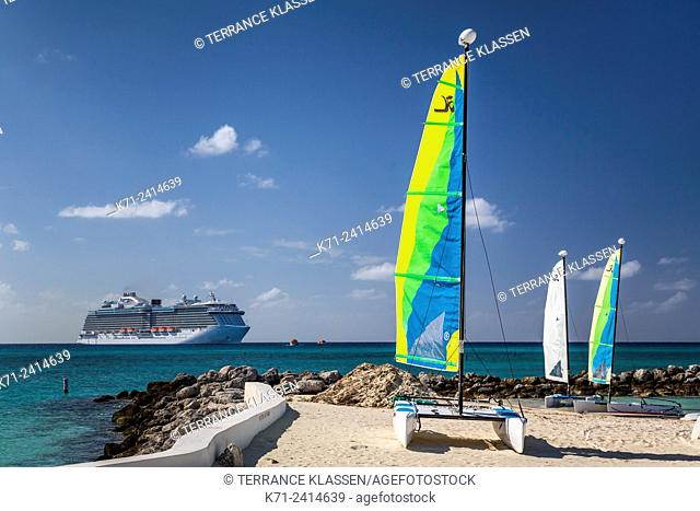 Colorful sailboats on Princess Cays, Bahamas