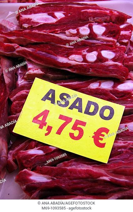 Venta de carne en el Mercado de Sant Josep, La Boqueria, Barcelona