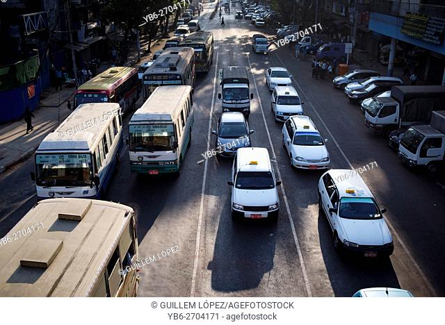 Rush hour traffic in Yangon city, Myanmar