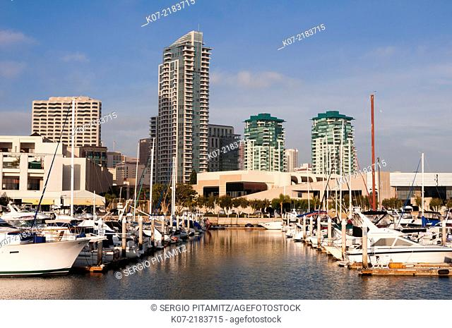 Marina and San Diego Skyline, California, USA