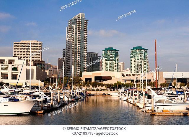 Marina and San Diego Skyline, California, USA