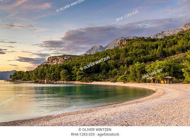 The Cvitacka beach near Makarska at sundown, Croatia, Europe