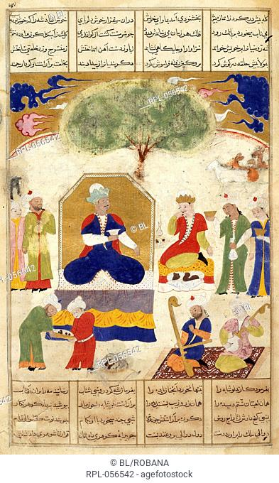 Iskandar with the Russian king Having struck off the fetters from the King of the Russians with his sword Iskandar gives him a robe and entertains him