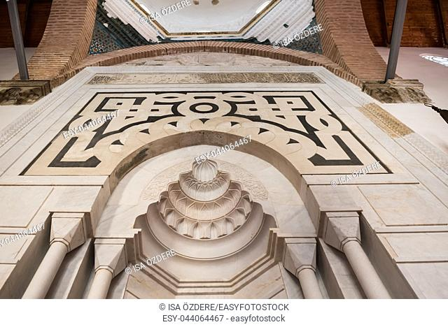 Interior detailed view of Isa Bey Mosque which has impressive works of architectural art remaining from Anatolian beyliks in Selcuk,Izmir,Turkey