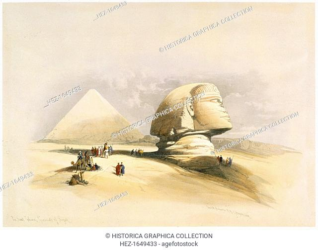 The Great Sphinx and the Pyramids of Giza, 19th century. The Sphinx is located on the Giza Plateau with the three pyramids of Khufu (Cheops)