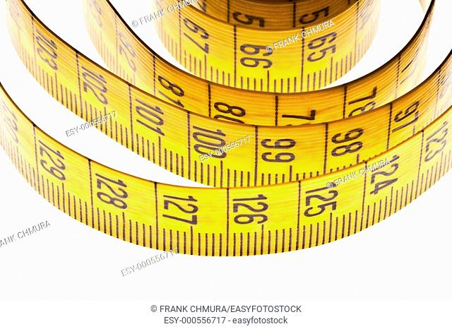 diet - yellow measuring tape isolated on white background