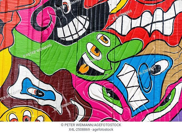 Colorful graffiti on a funfair carousel in the Prater, amusement park, Prater, Vienna, Austria, Europe