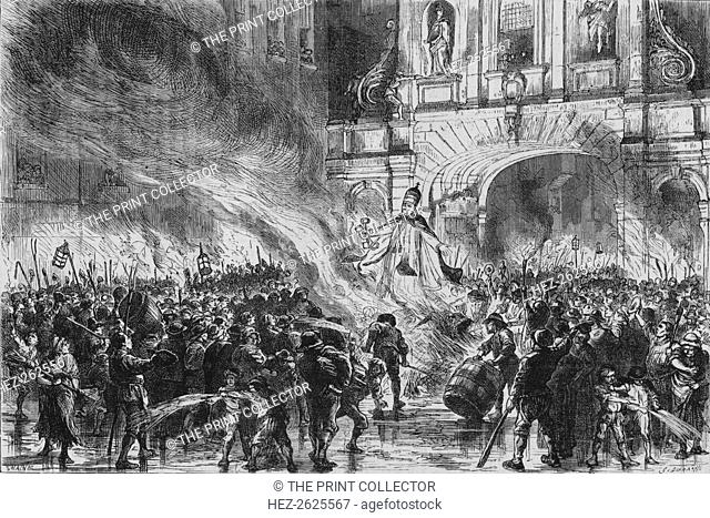 'Burning the Pope in Effigy at Temple Bar', c19th century. Artist: G Durand