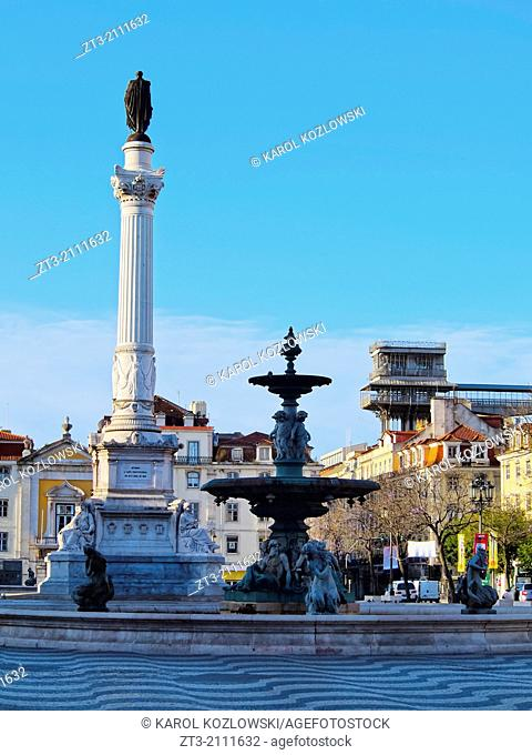 View of Rossio Square in Lisbon, Portugal