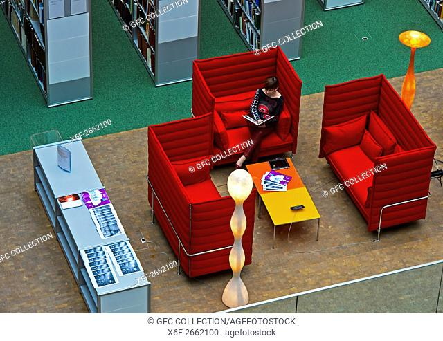 Reading corner at the Library of the World Intellectual Property Organisation, WIPO, Geneva, Switzerland