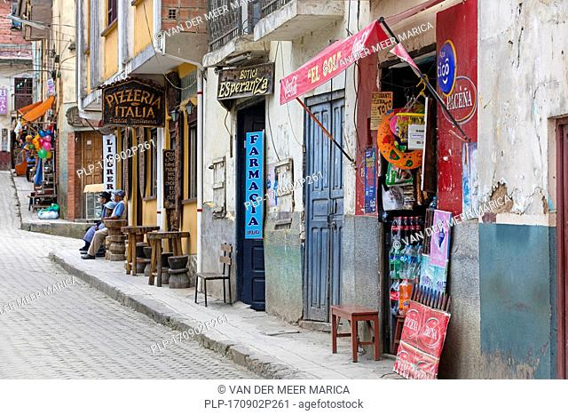 Street with shops and restaurants in Coroico, town in Nor Yungas Province, La Paz Department of western Bolivia