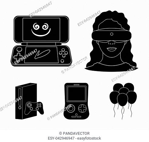678b4974dde8 Game console and virtual reality black icons in set collection for design.Game  Gadgets vector