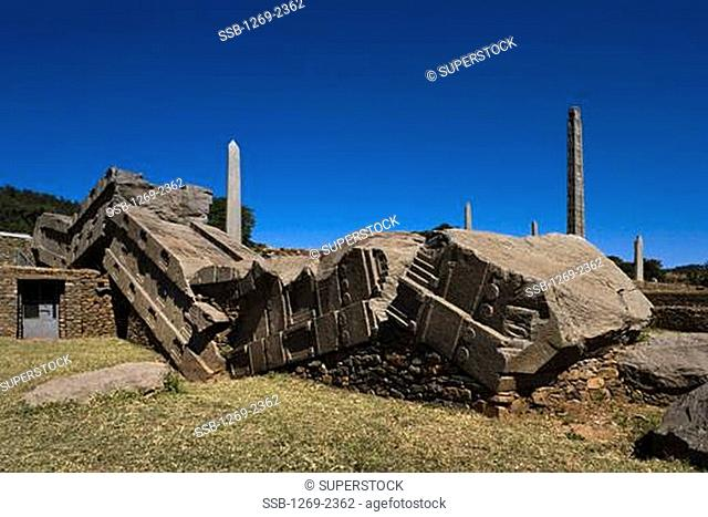 Ruins of a collapsed obelisk, Axum, Ethiopia