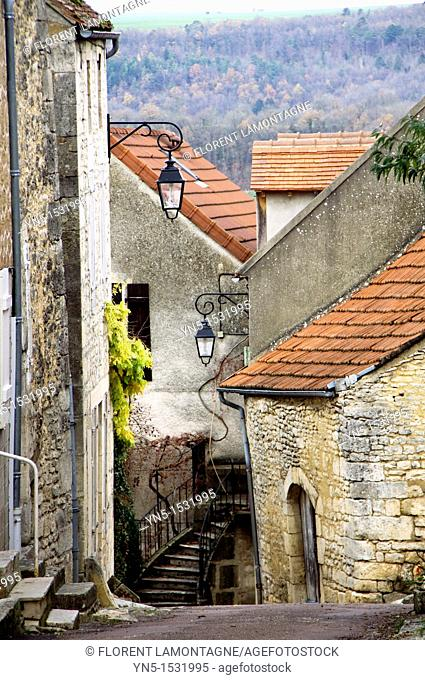 View of the streets of the village of Flavigny sur Ozerain, Cote d'Or 21, in Burgundy, where was filmed the hollywood's movie 'Chocolat'