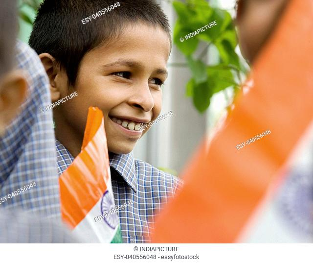 School boy with the Indian Flag