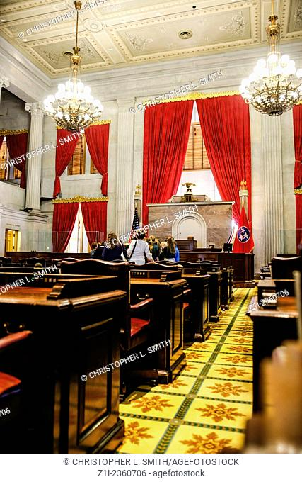 The House of Representatives Chamber inside the Tennessee State Capitol building in Nashville