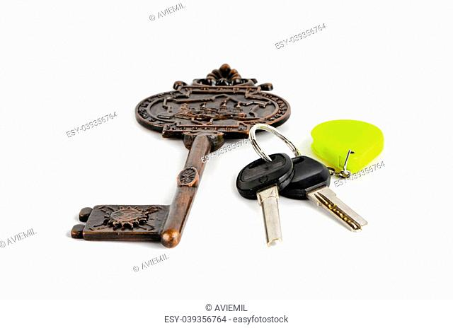 Big and small key fob on a white background