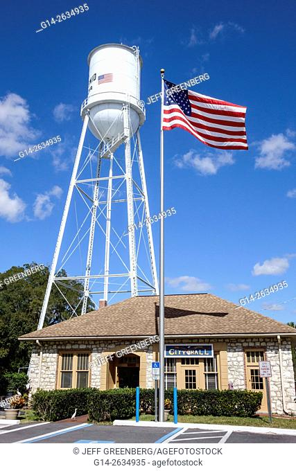 Florida, FL, San Antonio, small town city hall, water tower, flag