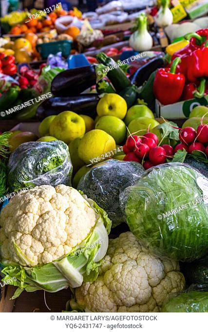 Selection of fresh, organic and national fruits and vegetables at the farmers market in Krakow, Poland