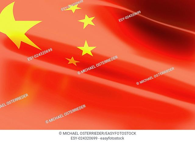 The Flag of China. 3d rendered illustration