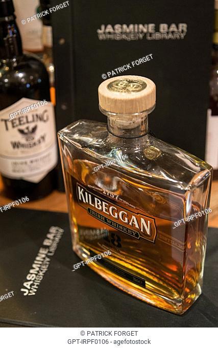 KIRBEGGAB IRISH WHISKEY ON THE DRINKS LIST AT THE WHISKEY BAR OF THE JASMINE HOTEL, DRURY STREET, DUBLIN, IRELAND