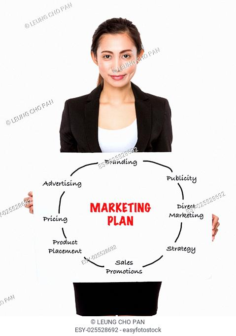Businesswoman holding a placard presenting marketing plan concept