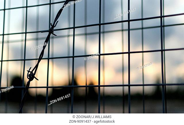 Barbed Wire and Iron Mesh Fence