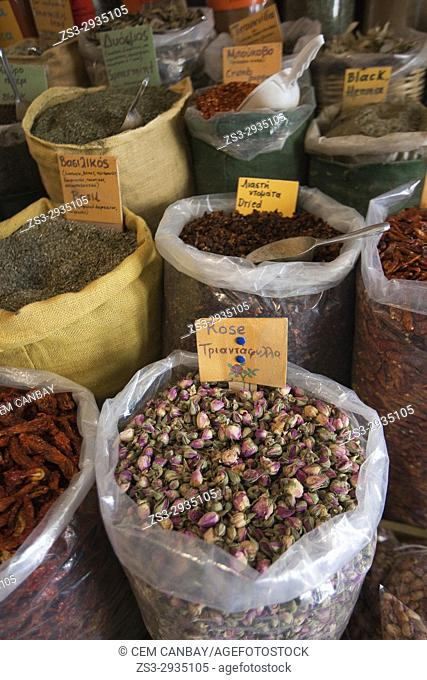 Different legumes and spices in sacks at the market, Naxos, Cyclades Islands, Greek Islands, Greece, Europe