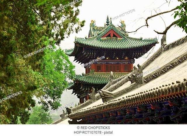 High section view of a temple, Shaolin Monastery, Henan Province, China