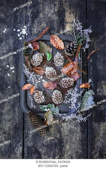 Edible pine cones made from cake dough and almonds