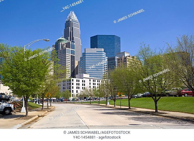 City skyline of downtown Charlotte North Carolina