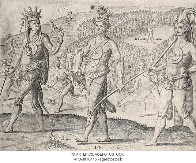 Theodor de Bry - chief holata outina leader of the timucuas walking in isolation