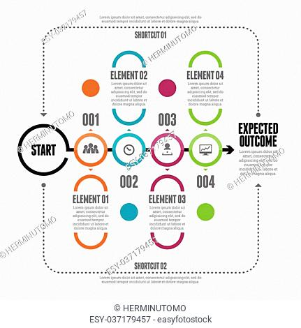 Vector illustration of bold circle line chain infographic design elements