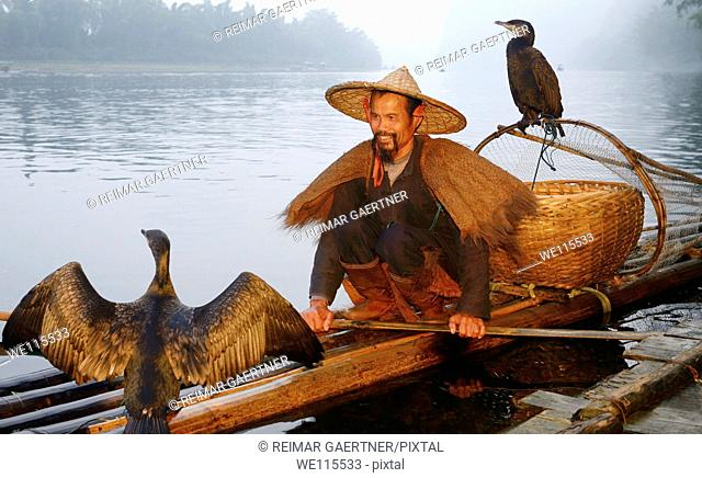 Smiling cormorant fisherman with birds on a bamboo raft on the Li river at dawn Xingping China