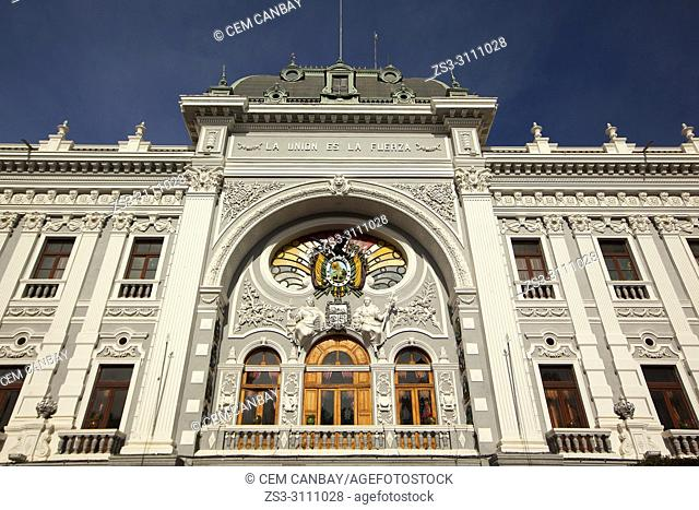 View to the facade of the Governer's Palace-Palacio de Gobierno at the historic center, Sucre, Chuquisaca Department, Bolivia, South America