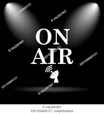 On air icon. Internet button on black background