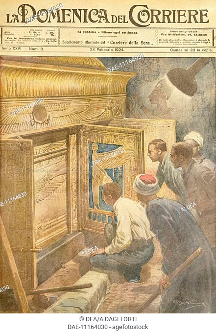 The discovery of Tutankhamen's tomb. Illustrator Achille Beltrame (1871-1945), from La Domenica del Corriere, 24th February 1924