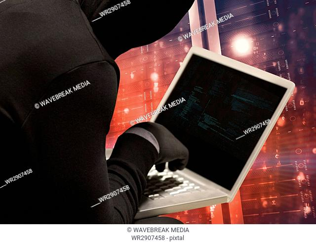 Black jumper hacker with out face with computer