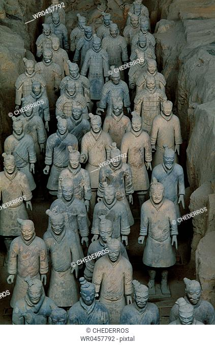 High angle view of statues of terracotta soldiers, Shaanxi Province, Xian, China