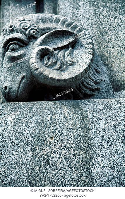 Stone Rams Head