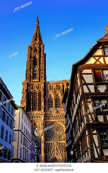 'Notre-Dame' Gothic Cathedral 14th Century at sunset, Strasbourg, Alsace, France
