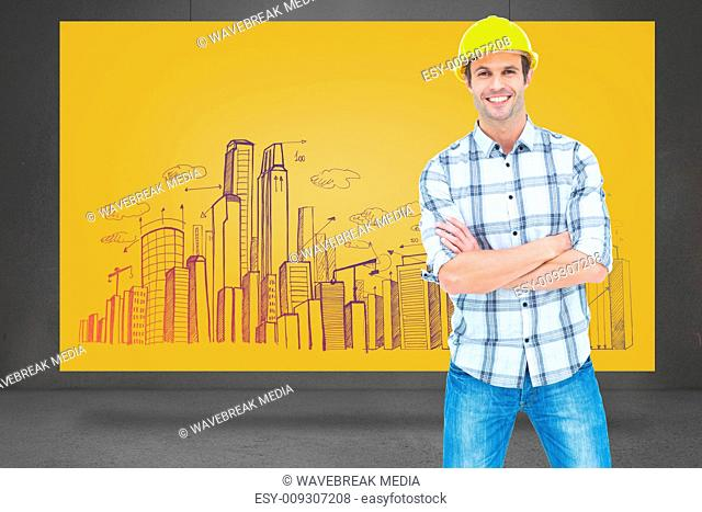 Composite image of architect standing over white background