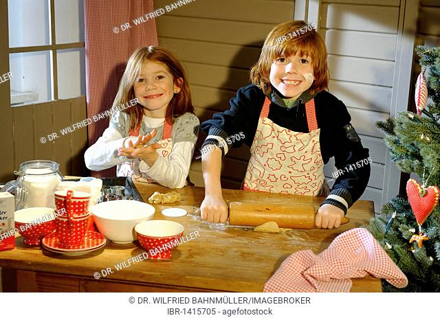 Christmas bakery, children baking