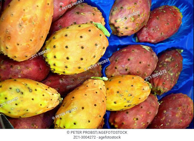 Fruits of the prickly pear cactus on the Fruit market of the Bolzano in South Tyrol