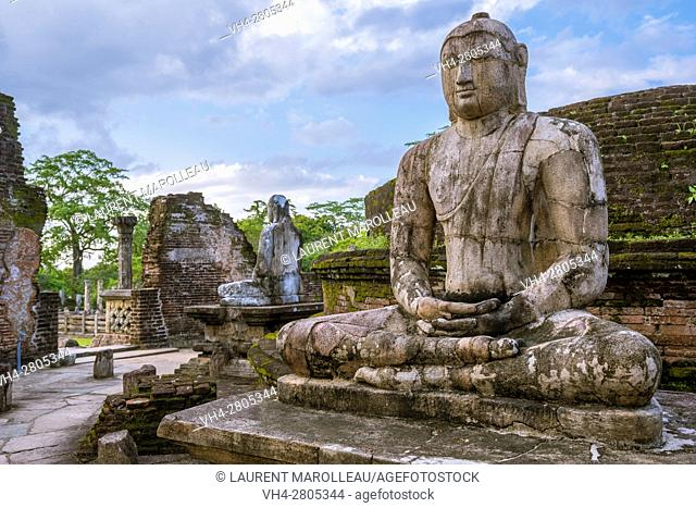 One of the Buddha Statues on the upper platform of Vatadage Temple, The Quadrangle, Ancient City of Polonnaruwa, North Central Province, Sri Lanka, Asia