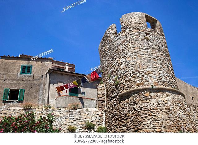 clothes to dry, Castle, Giglio Castello village, Giglio Island, Tuscan archipelago, Tuscany, Italy, Europe
