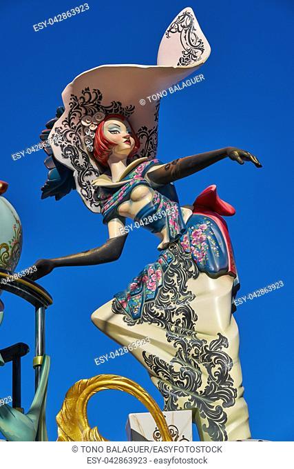 Las fallas fest figures of marche paper in Valencia of spain