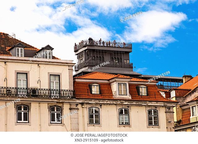 View of the Santa Justa Lift or Carmo Lift, Elevador de Santa Justa, as seen from the Rossio Square, Lisbon, Portugal, Europe